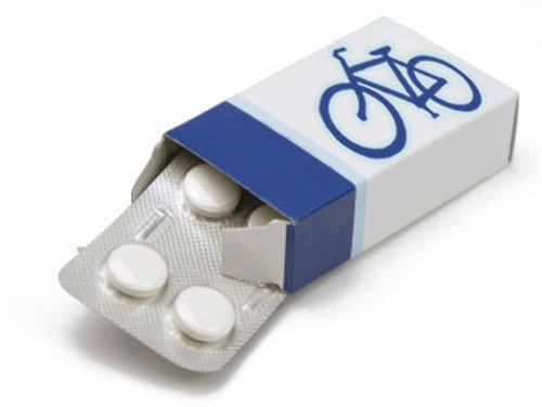 boite de médicament avec un vélo bleu sur l'emballage