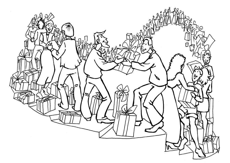 dessin au trait noir et blanc montrant des gens partager des choses