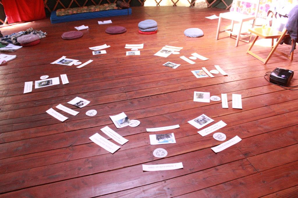 exercice collectif sur les principes de la permaculture, dans une yourte sur un beau parquet en bois foncé