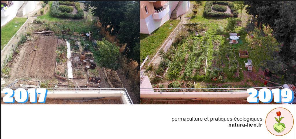 montage photo avant/après du jardin de Villamont en résidence, de 2017 à 2019