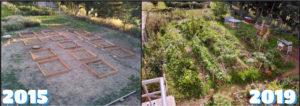 montage photo avant/après du jardin de Villamont en résidence, de 2015 à 2019