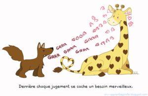 """dessin en couleur représentant un chacal et une girafe qui s'échangent des mots, avec une phrase intitulée """"derrière chaque jugement se cache un besoin merveilleux"""""""