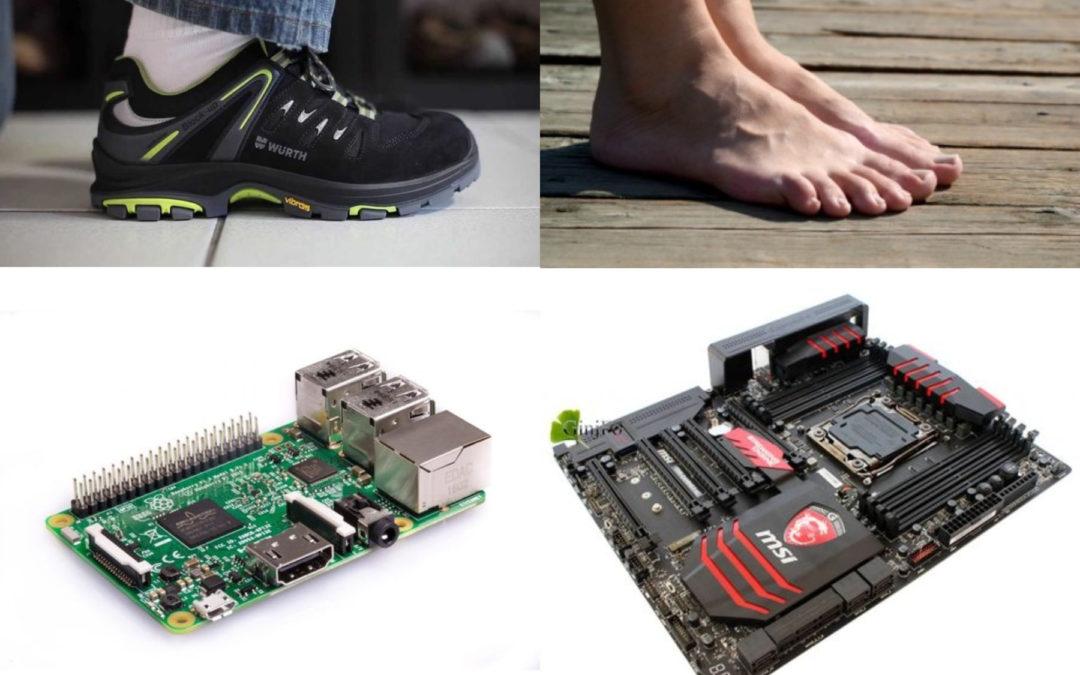 comparaison entre pieds nus et chaussures