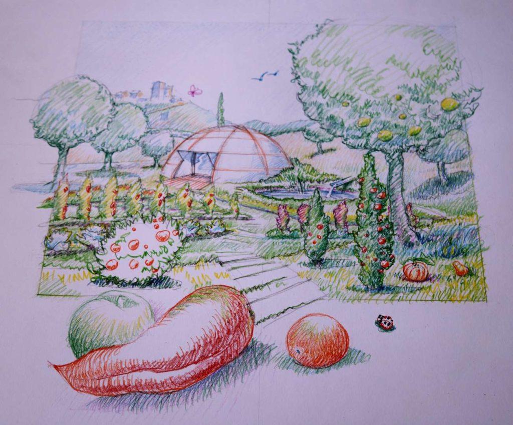 dessin pour imaginer l'Oasis de Béziers