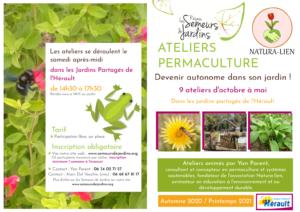 affiche des ateliers permaculture en hérault avec semeurs de jardin