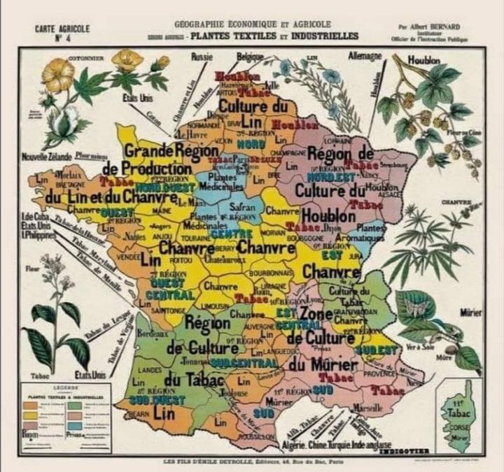 carte ancienne montrant les principales régions de productions agricoles de France, où l'on voit que le Chanvre tient une place importante.