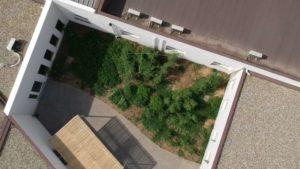 vue en drône d'un jardin mandala dans le patio d'une entreprise