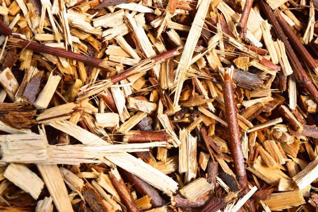 vue détaillée de broyat de bois