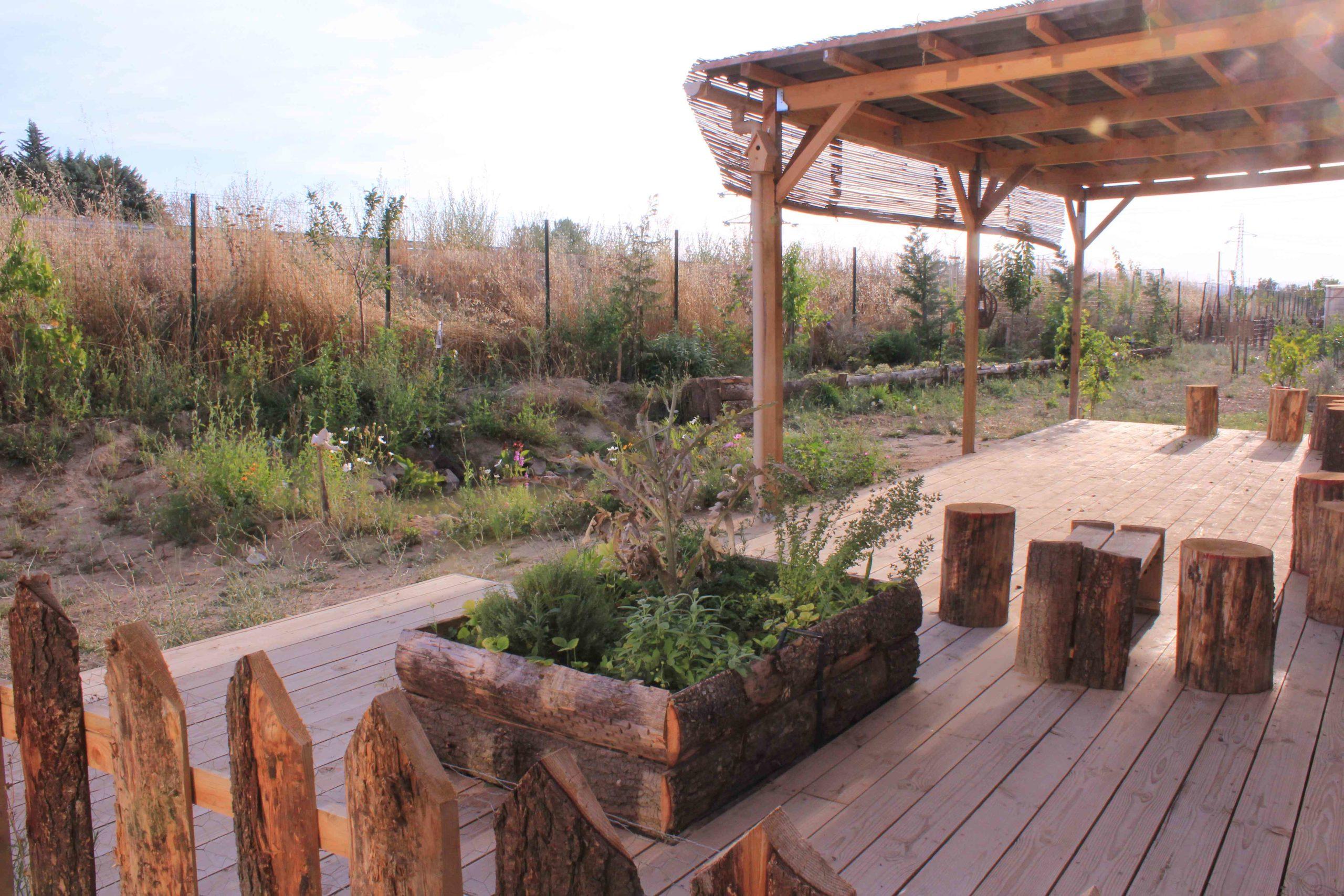 vue sur un potager d'entreprise terminé, avec terrasse, abri, clotûre en dosses, jardinière en dosses, et mare