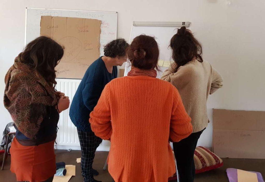 quatres personnes travaillent sur un paperboard pendant un exercice lors d'une formation sur la gouvernance partagée et l'intelligence collective